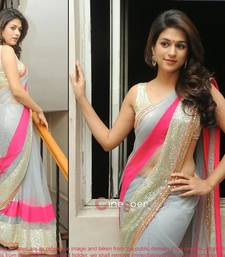 Buy Grey embroidered Georgette saree with blouse katrina-kaif-saree online