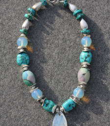 Moonstone and Turquoise Necklace. shop online