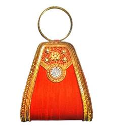 Buy Double Bangle Raw Silk (Rust) clutch online