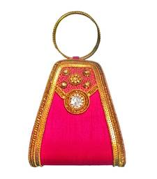 Buy Double Bangle Raw Silk (Pink) clutch online