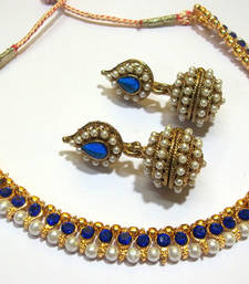 Buy Dark Blue Gota Pearl Polki Necklace Set necklace-set online