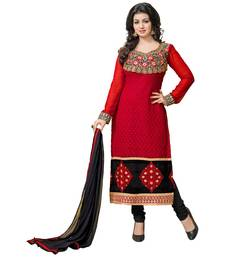 Buy Red embroidered Georgette unstitched salwar with dupatta dress-material online