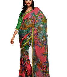 Buy Green embroidered jute cotton saree with blouse jute-saree online