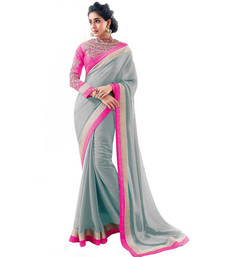 Buy Grey plain georgette saree with blouse georgette-saree online