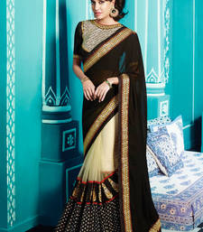 Buy Black and chiku embroidered georgette saree with blouse bridal-saree online