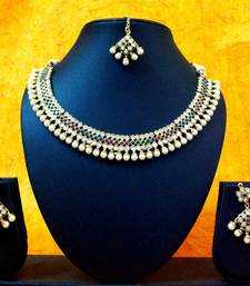 Buy Strings of Pearls, Kundan & Red Green Stones Necklace Set vi149 Necklace online