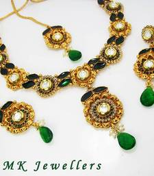 Buy Designer Polki Necklace with Meena Finish Tingy Green Necklace online