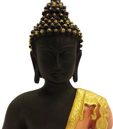 Buy Polyresine Buddha Head + Chest - Peach + Gold sculpture online