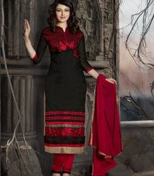 Buy Red embroidered cotton unstitched salwar with dupatta party-wear-salwar-kameez online