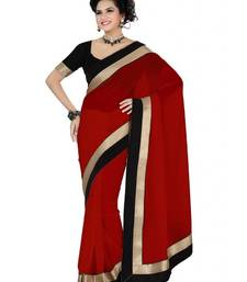 Buy Red Plain Chiffon saree with blouse ethnic-saree online