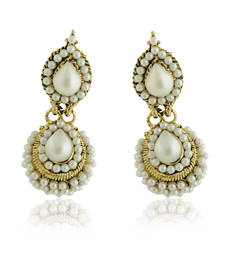 Buy White Pearls Studded Gold Plated Earrings jhumka online