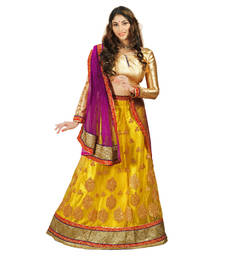 Buy Mustard and Pink Embroidered Net unstitched lehenga-choli navratri-lehenga-chaniya-choli online