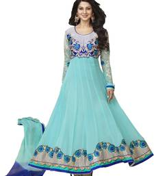 sky blue embroidered georgette semi stitched salwar with dupatta shop online