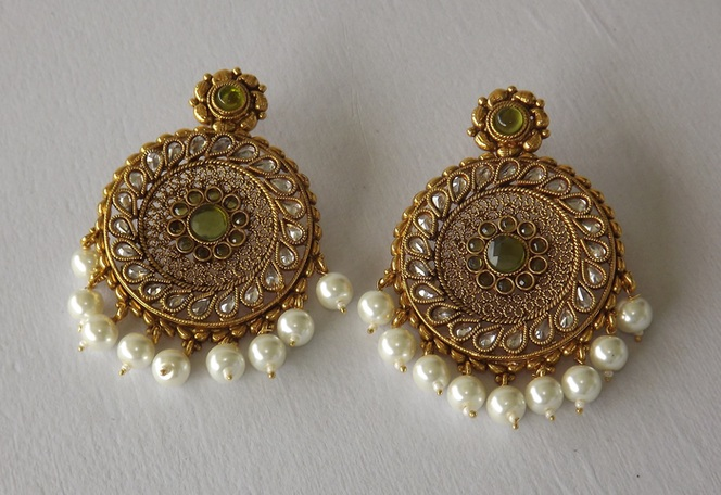 Buy Large Golden Chaand Baalis Earrings With Stones Pearls
