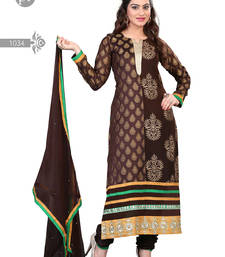 Buy Brown embroidered jacquard semi-stitched salwar with dupatta pakistani-salwar-kameez online