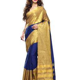 Buy Blue and Gold Cotton Silk Saree with Blouse cotton-saree online