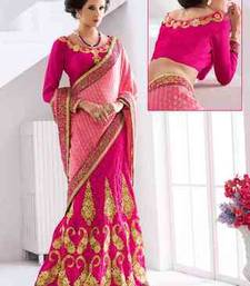 Buy Pink  embroidered viscose saree with blouse lehenga-saree online