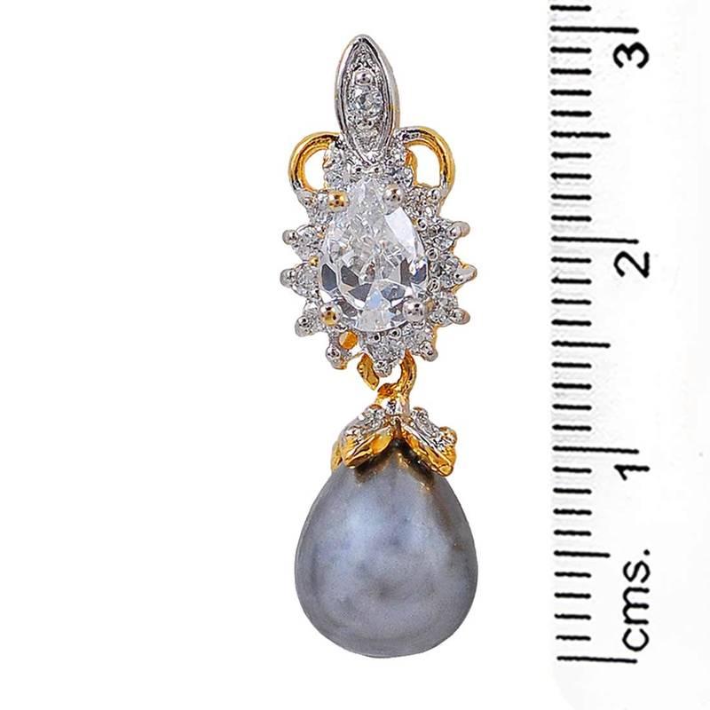 Buy Simple Grey Gold American Diamond Drop Earrings Online