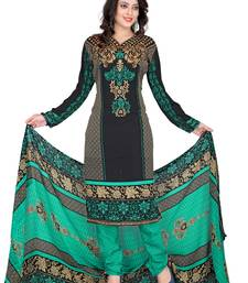 Buy Black and multicolor printed Crepe unstitched salwar with dupatta dress-material online