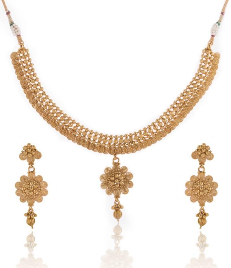 Buy Plain Gold Designs Beautiful Necklace Set Online