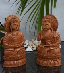 Buy Combo of Wooden Carved Lord Buddha Statue thanksgiving-gift online