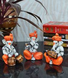 Buy Set of 3 Ganesha Playing Tabla, Flute and Dholak new-year-gift online