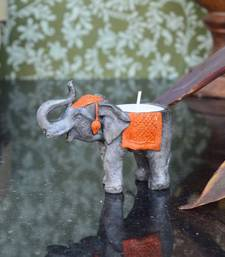 Buy Polyresin Elephant Design TeaLight Holder - Orange candle online