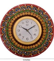 Buy Artistic Handwork Papier-Mache Wooden Wall Clock housewarming-gift online