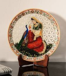 Buy Ragini with Peocock Marble Decorative Platter with Wooden Stand decorative-plate online