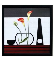 Buy Abstract Flowers Theme Satin Matt Texture Framed UV Art Print painting online