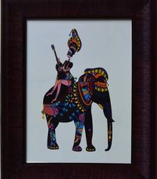 Buy Elephant Theme Satin Matt Texture Framed UV Art Print painting online