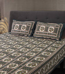 Buy Sanganeri Printed Cotton Double Bedsheet with 2 Pillow Cover bed-sheet online