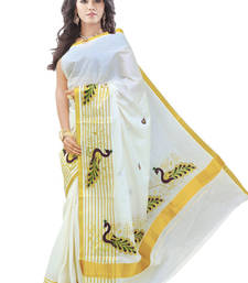 Buy cream woven cotton saree with blouse pongal-dhoti-saree online