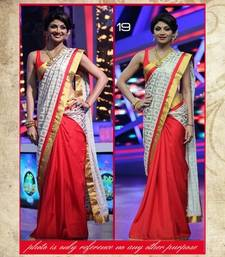 Buy Red and white printed Cotton and Bember saree with blouse shilpa-shetty-saree online
