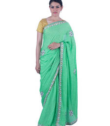 Buy Green Stone work Crepe stone work crepe-saree with blouse crepe-saree online