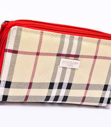 Buy Red coloured chex clutch clutch online
