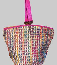 Buy Pink Tote enhanced with multi coloured yarn handbag online