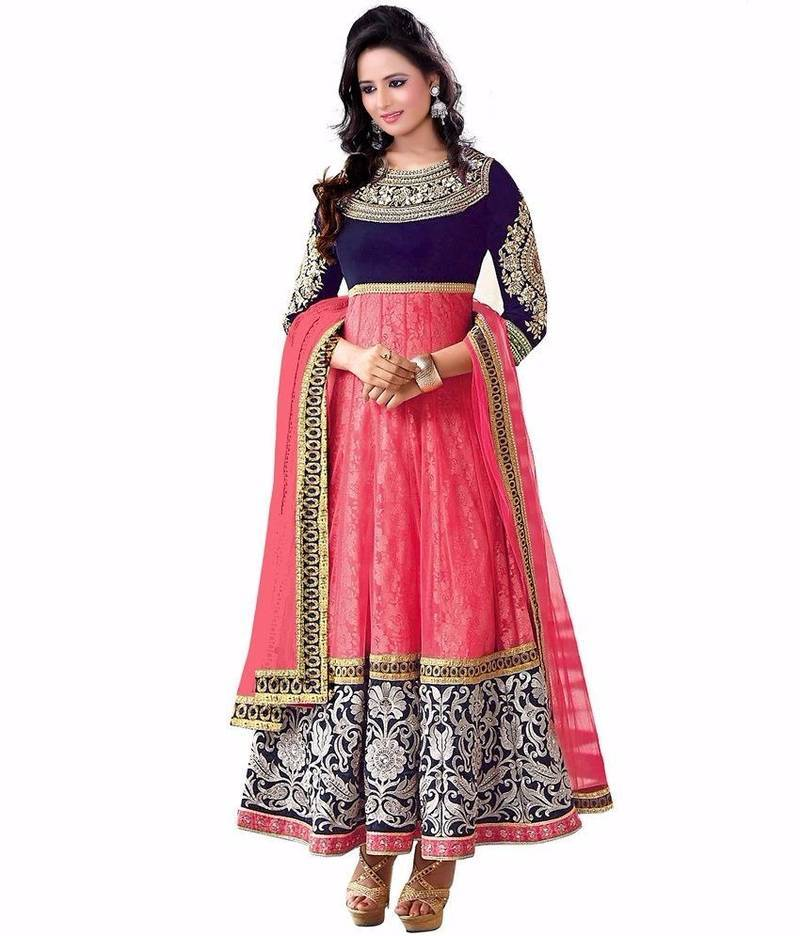 buy pink embroidered art silk semi stitched salwar with