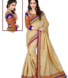 Buy Golden embroidered silk saree with blouse silk-saree online