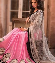 Buy WHIE and PINK brasso georgette saree with blouse bridal-saree online