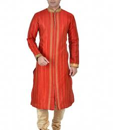 Buy RED SELF DESIGN MULTI DOPIAN KURTA PAYJAMA kurta-pajama online