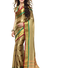 Buy Beige and Gold plain cotton saree with blouse cotton-saree online