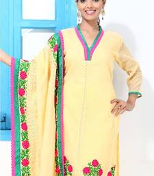 Buy Mango yellow and Croatia lace embroidery suit dress-material online