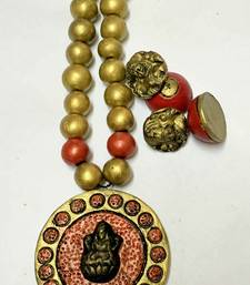 Buy Terracotta colour and antique gold Terracotta jewellery necklace-set online