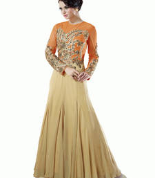 Buy Orange and Beige embroidered georgette semi stitched salwar party-wear-gown online
