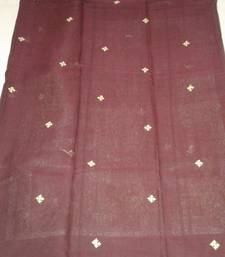 Buy maroon embroidered cotton saree with out blouse cotton-saree online