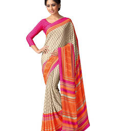 Buy Beige and Orange printed silk saree with blouse silk-saree online