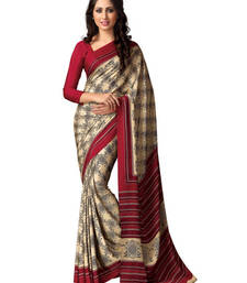Buy Beige and Maroon printed silk saree with blouse silk-saree online