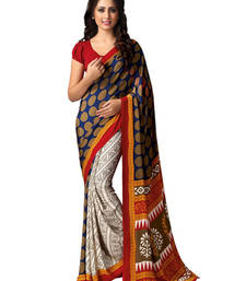 Buy Off White and Brown printed silk saree with blouse printed-saree online