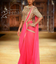 Buy pink Thread work georgette saree with blouse other-actress-saree online